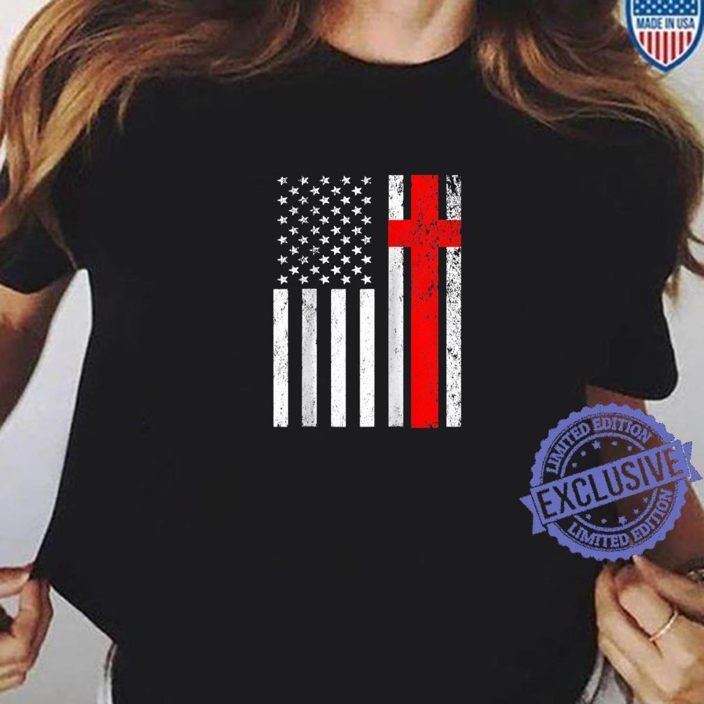 Funny American Flag Cross For USA Christian Shirt ladies tee