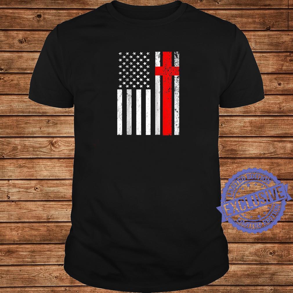 Funny American Flag Cross For USA Christian Shirt long sleeved