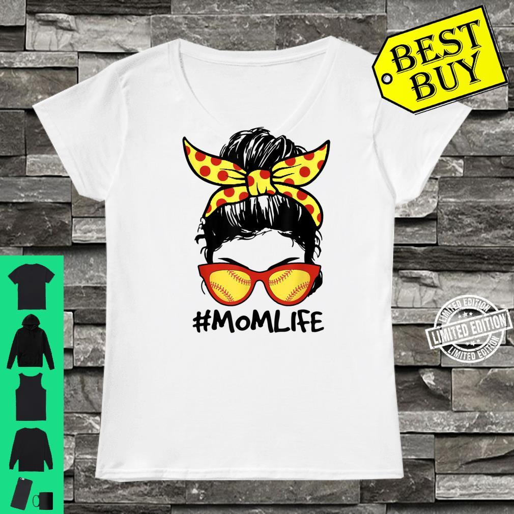 Mom Life Softball Baseball Mom Mother's Day Messy Bun Shirt ladies tee
