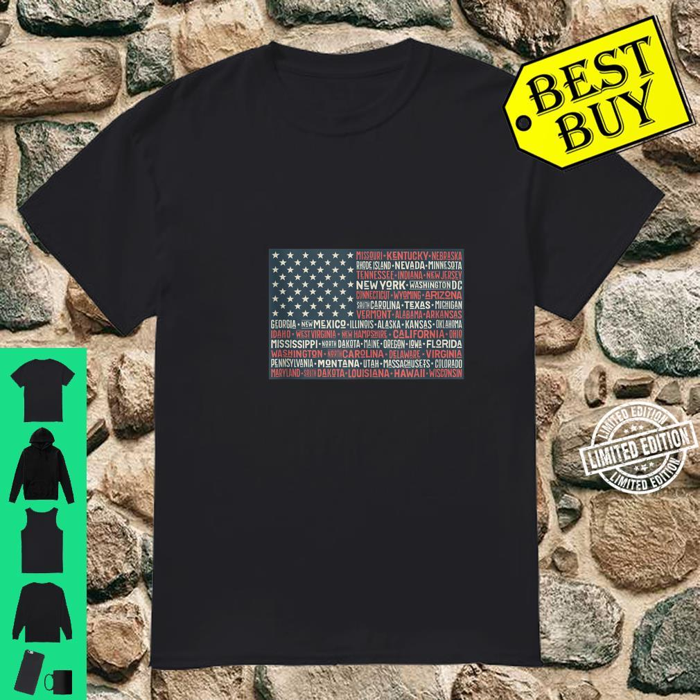 Patriotic July 4th USA American Flag All 50 State Names Shirt