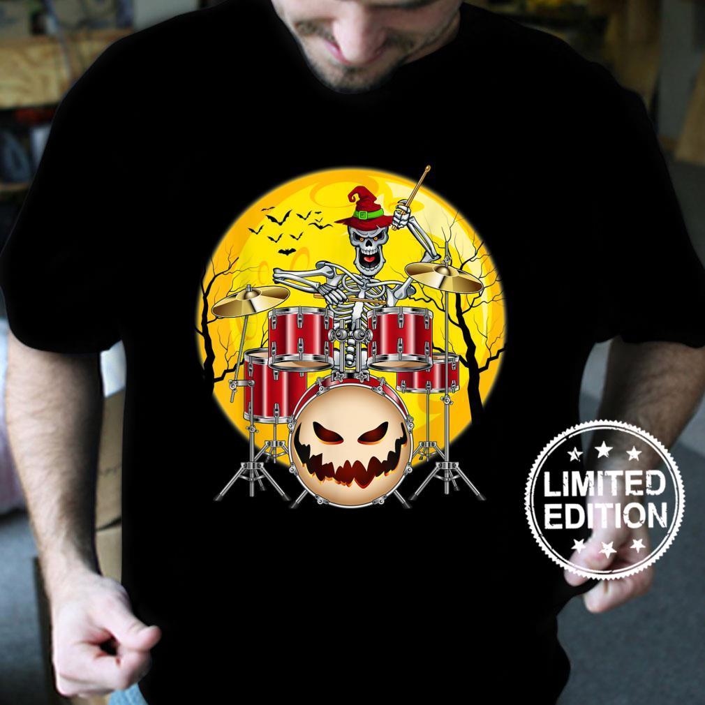 Skeleton Drummer Halloween Costume Playing Drums Shirt