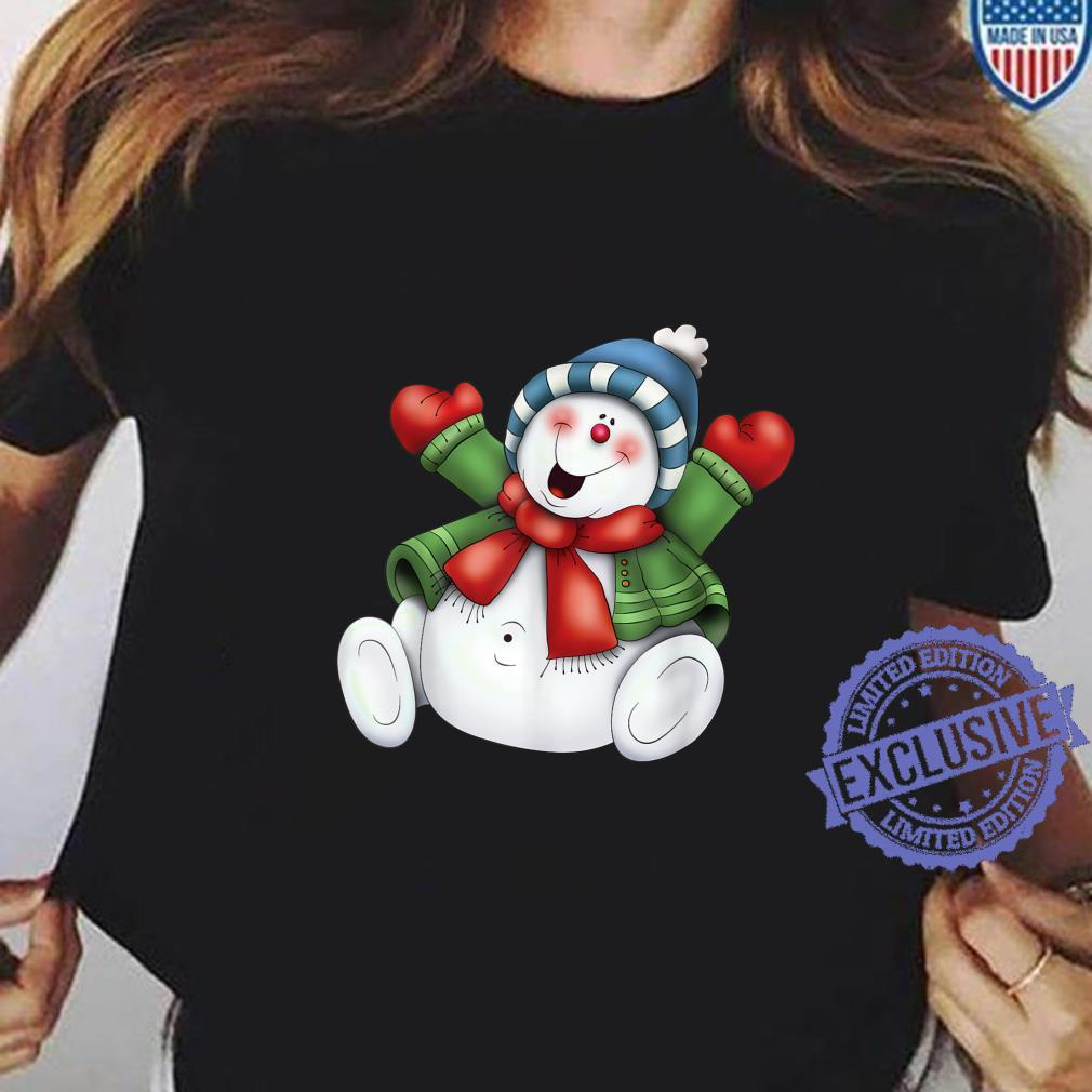 Snowman Cute Frosty Stay Cool Holiday Christmas Winters Here Shirt ladies tee