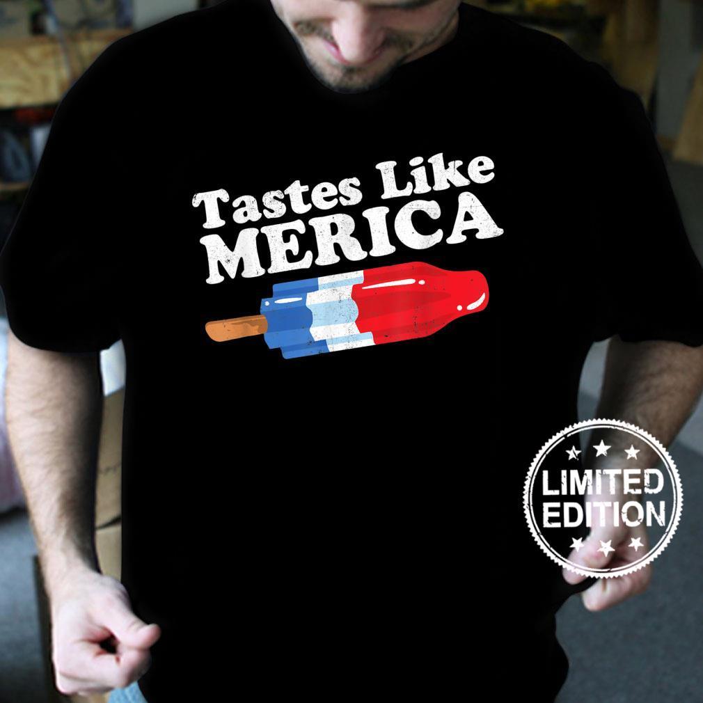 Tastes Like Merica Popsicle 4th of July Retro 80s Shirt