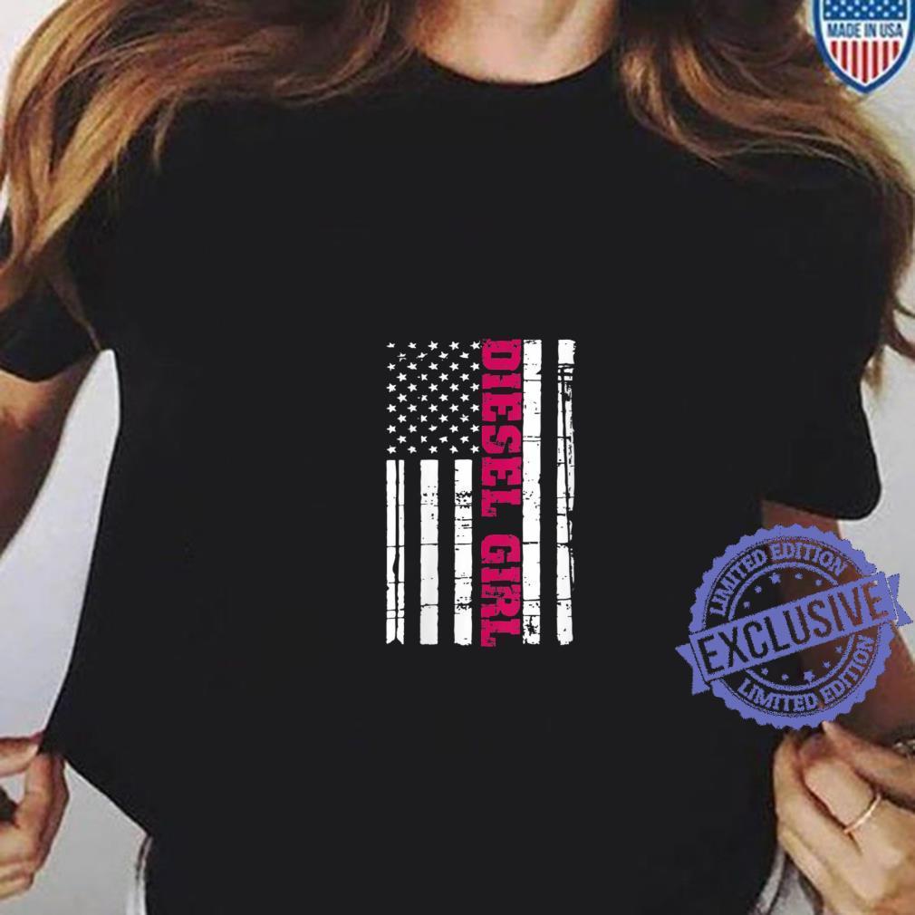 Womens Diesel Truck Girl Flag American USA Brothers Turbo Shirt ladies tee