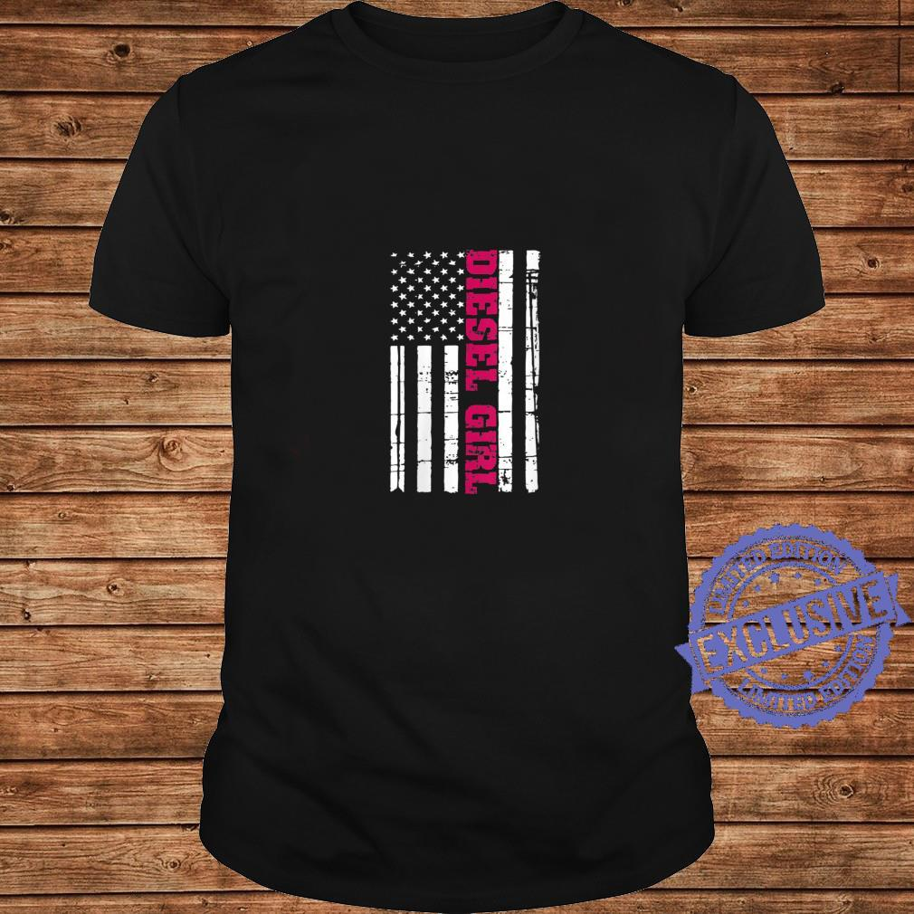 Womens Diesel Truck Girl Flag American USA Brothers Turbo Shirt long sleeved