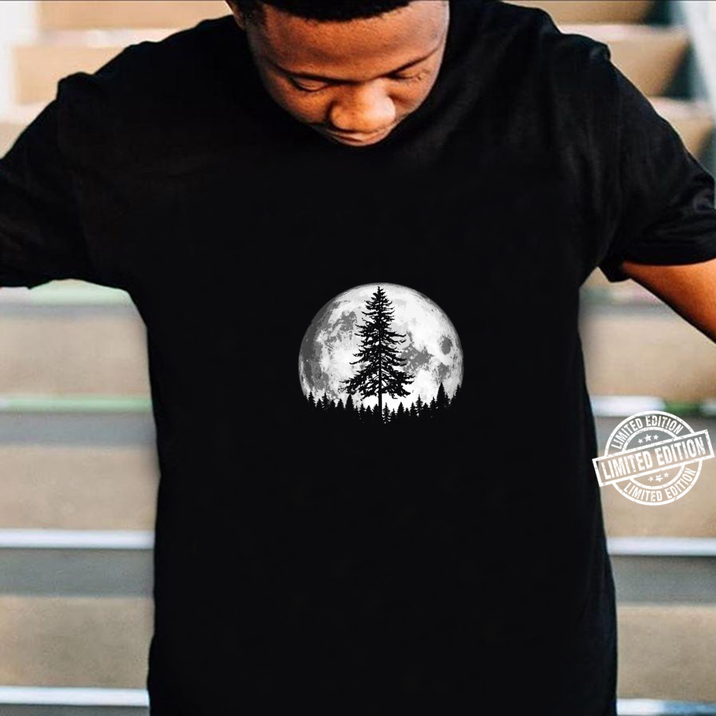 Womens Retro Full Moon & Minimalist Pine Tree Vintage Shirt