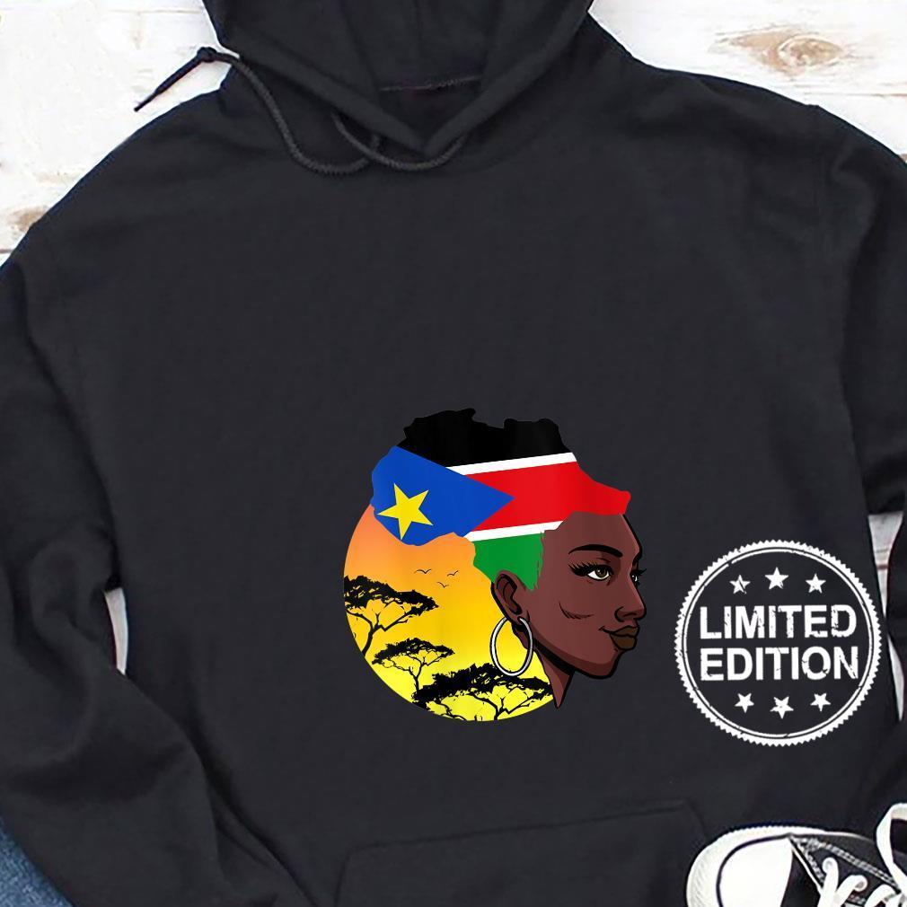 Womens South Sudanese Queen Black History Month South Sudan Flag Shirt hoodie