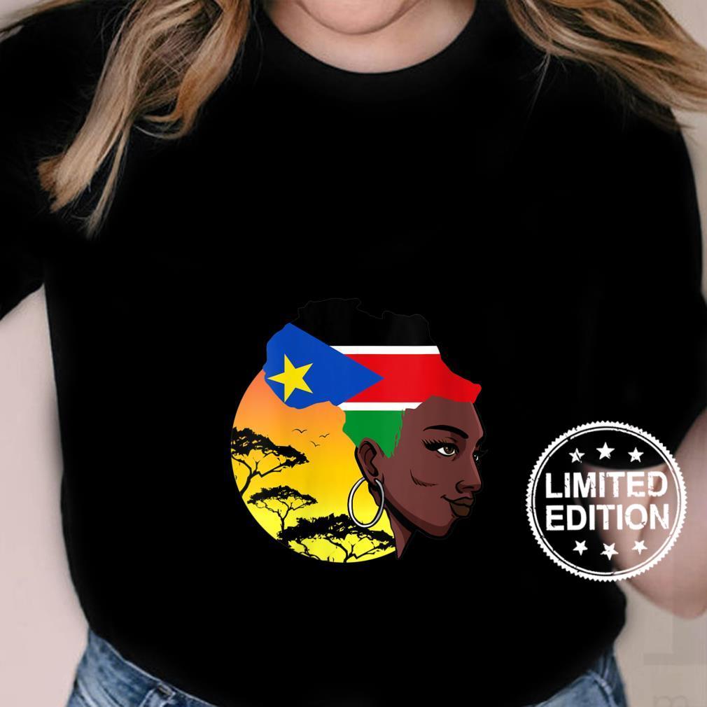 Womens South Sudanese Queen Black History Month South Sudan Flag Shirt ladies tee