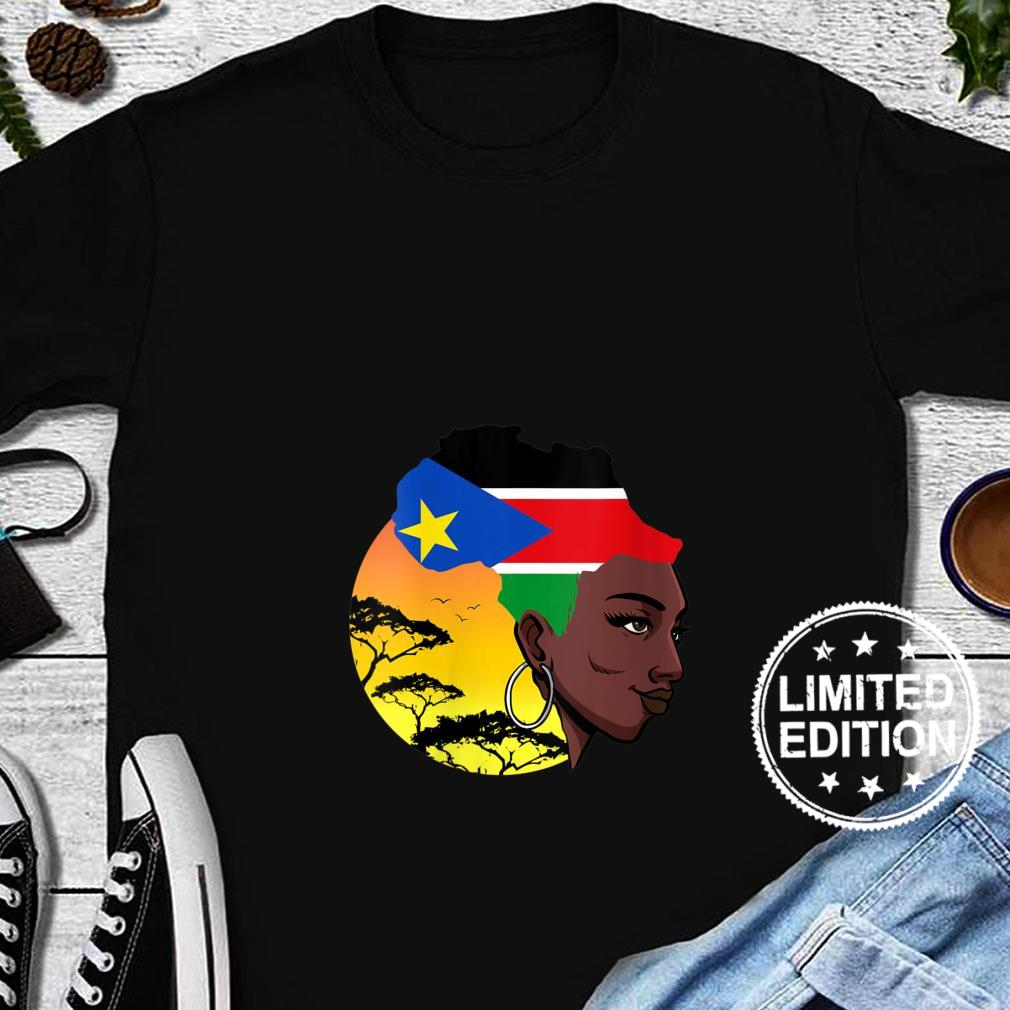 Womens South Sudanese Queen Black History Month South Sudan Flag Shirt long sleeved