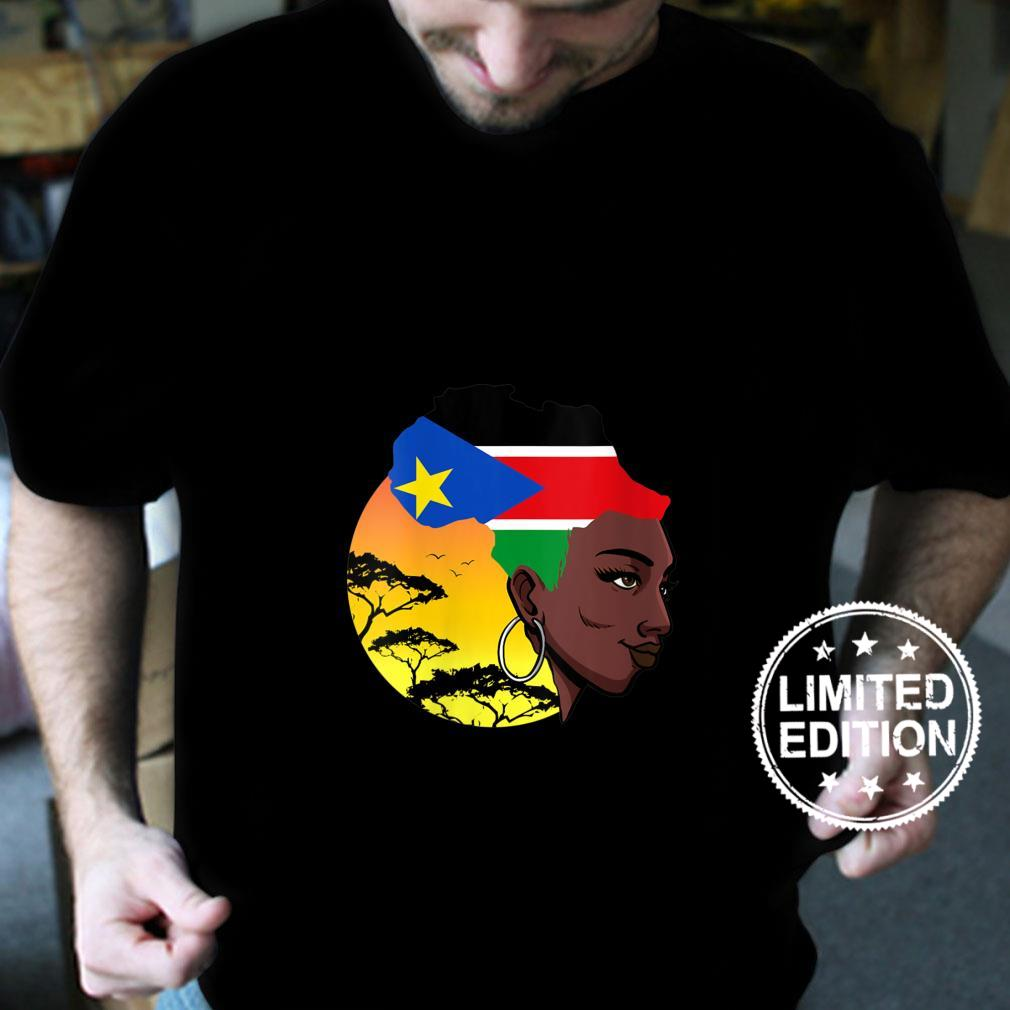 Womens South Sudanese Queen Black History Month South Sudan Flag Shirt