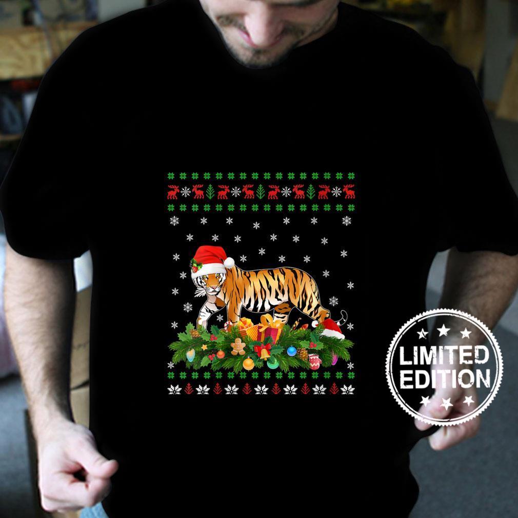 Womens Tiger Animal Santa Hat Ugly Bengal Tiger Christmas Shirt