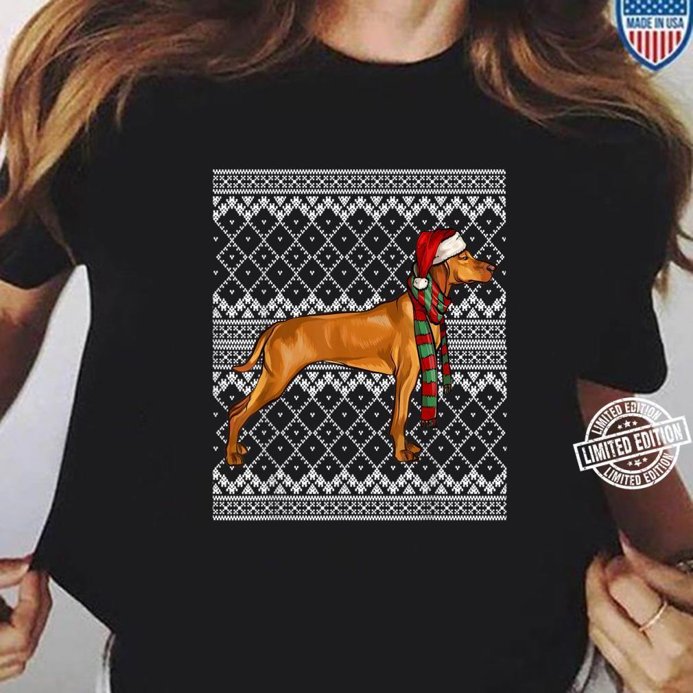 Xmas Vizsla Santa Claus Hat Ugly Christmas Shirt ladies tee