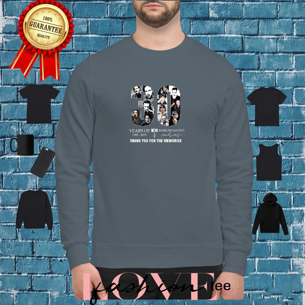 30 years of Marilyn Manson 1989 2019 thank you for the memories shirt sweater
