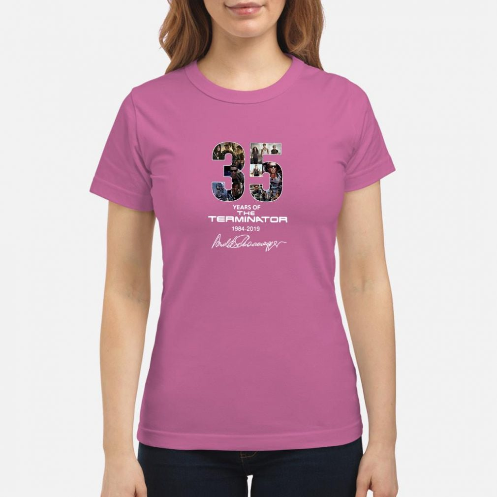35 years of The Terminator 1984 2019 anniversary shirt ladies tee