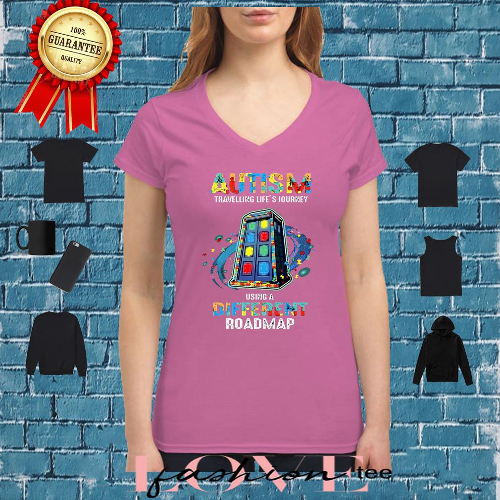 Autism travelling life's journey using a different roadmap shirt ladies tee