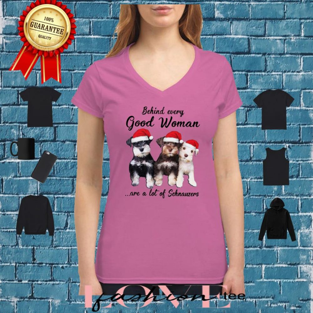Behind every good woman are a lot of Schnauzers christmas shirt ladies tee