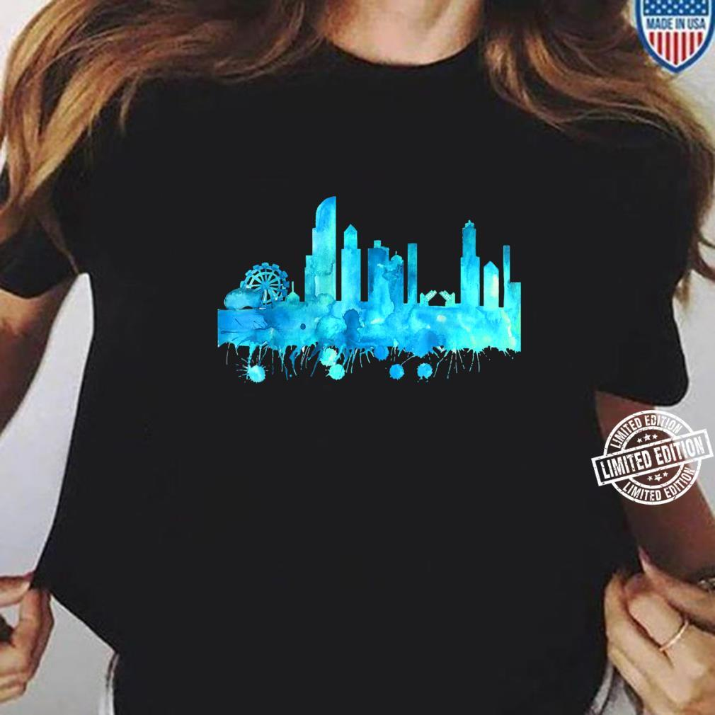 Chicago Skyline Watercolor Paint Design Shirt ladies tee