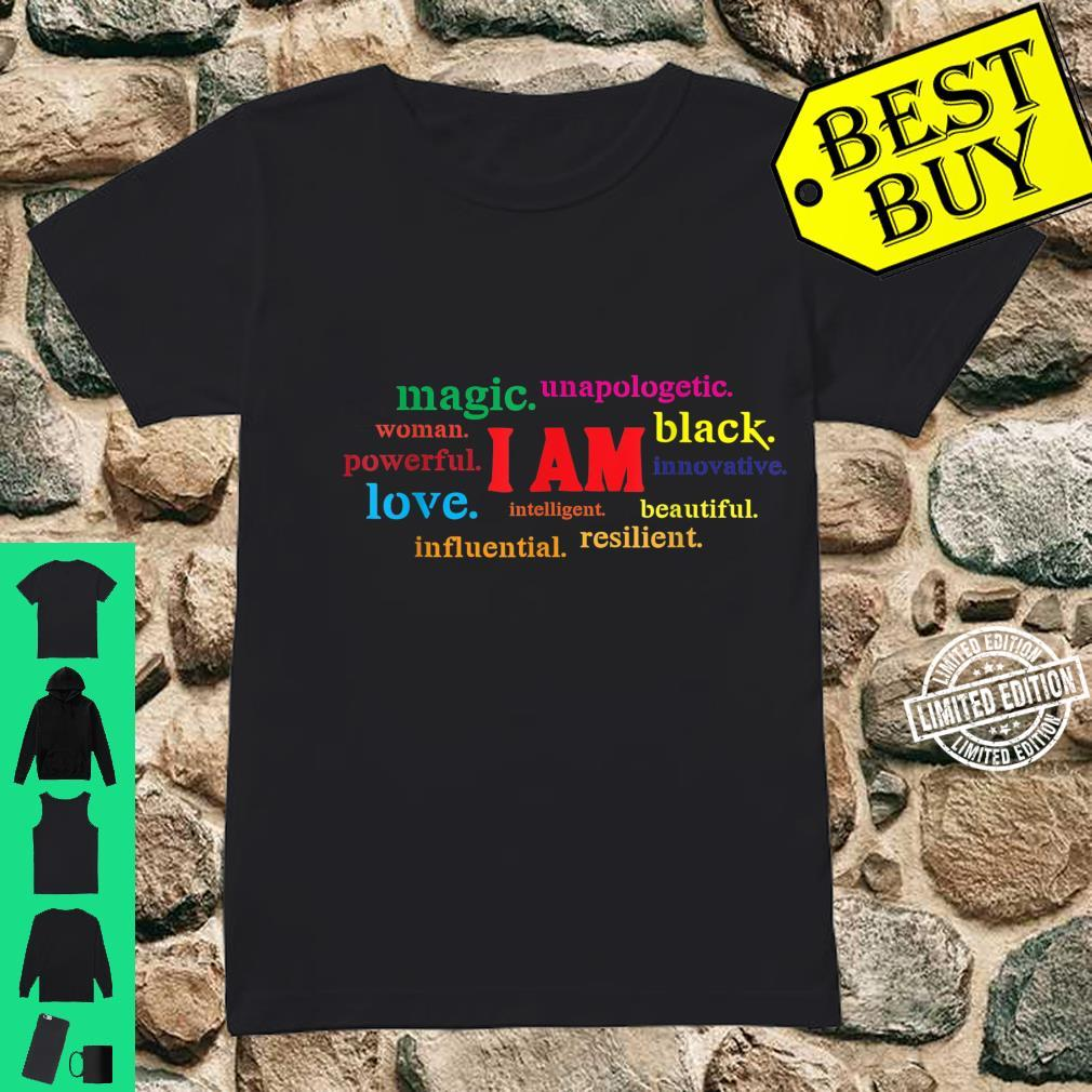 Colorful I Am Powerful Unapologetic Beautiful Black Shirt ladies tee
