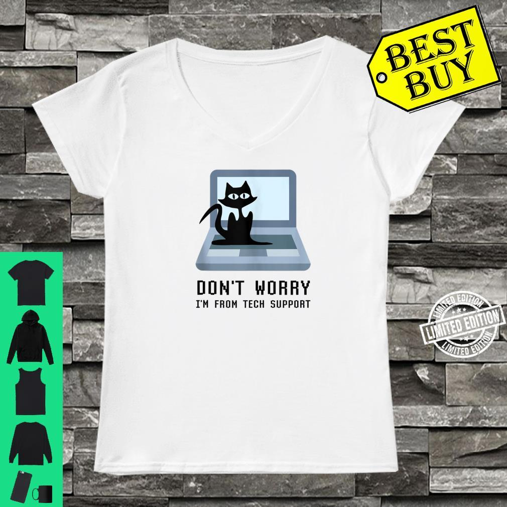 Don't Worry I'm From Tech Support Cute Cat Owner On Computer Shirt ladies tee