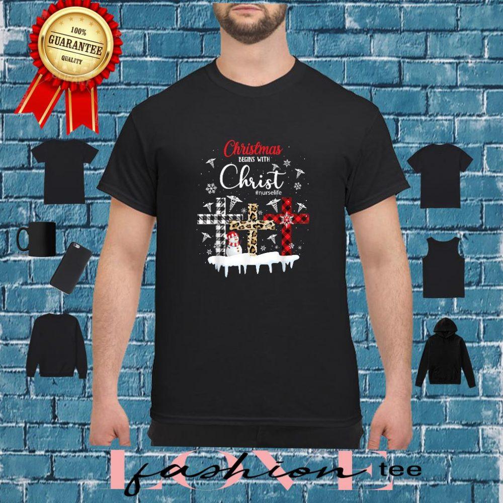 Merry Christmas Xmas Nurse Life Christ Cross Leopard Shirt