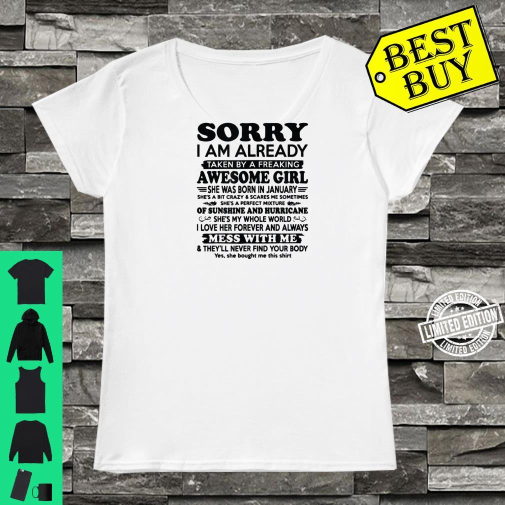 Sorry I Am Already Taken By A Freaking Awesome Girl Shirt ladies tee