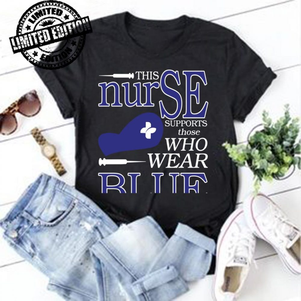 This nurse supports those who wear blue shirt