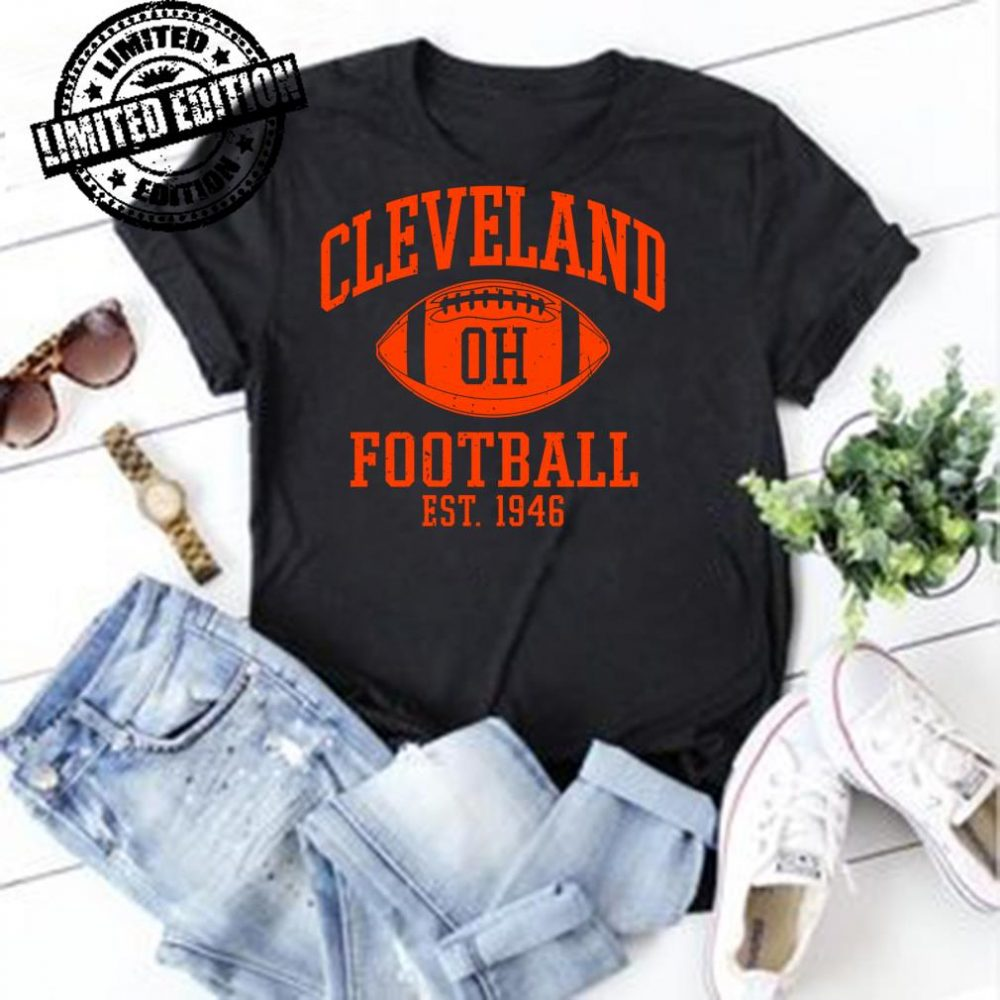 Vintage Distressed Cleveland-Football Ohio Retro Brown CLE shirt