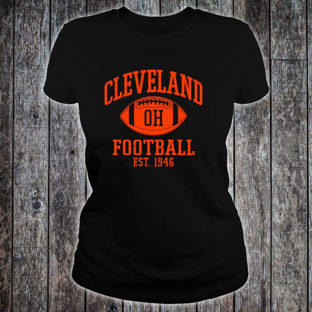 Vintage Distressed Cleveland-Football Ohio Retro Brown CLE shirt ladies tee
