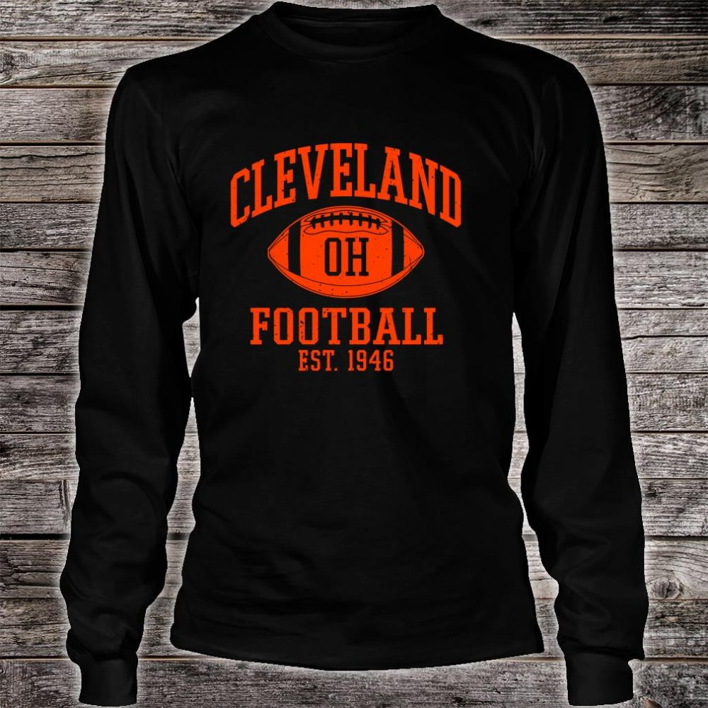 Vintage Distressed Cleveland-Football Ohio Retro Brown CLE shirt long sleeved