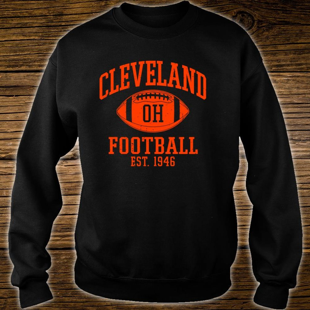 Vintage Distressed Cleveland-Football Ohio Retro Brown CLE shirt sweater